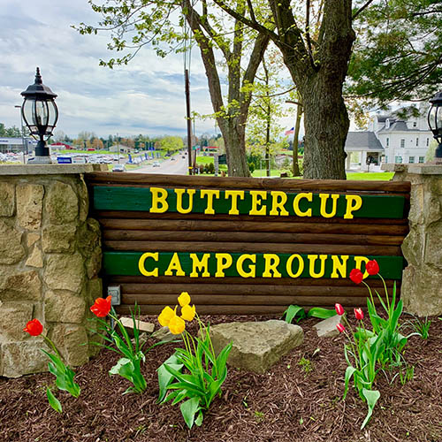 Buttercup Woodlands Campground sign